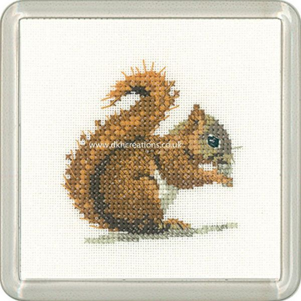 Red Squirrel Coaster Little Friends  Cross Stitch Kit